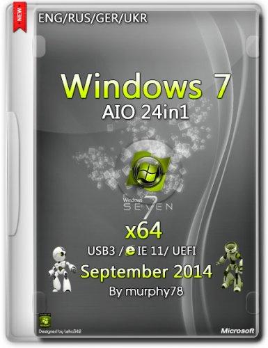 Windows 7 SP1 AIO 24in1 UEFI IE11 September v.7601 (x64) (2014) ENG/RUS/GER/UKR