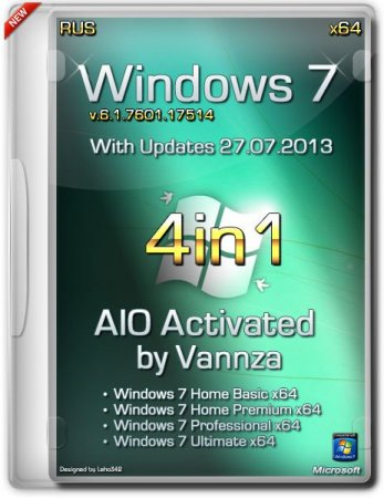 Windows 7 X64 4 in 1 AIO Activated by Vannza (2013) Русский